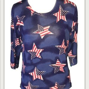 Silk Blend Patriotic Stars Stripes Flag Sweater L